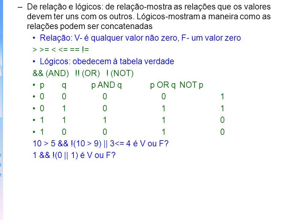 De relação e lógicos: de relação-mostra as relações que os valores devem ter uns com os outros. Lógicos-mostram a maneira como as relações podem ser concatenadas