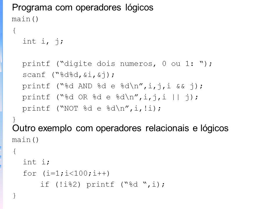 Programa com operadores lógicos