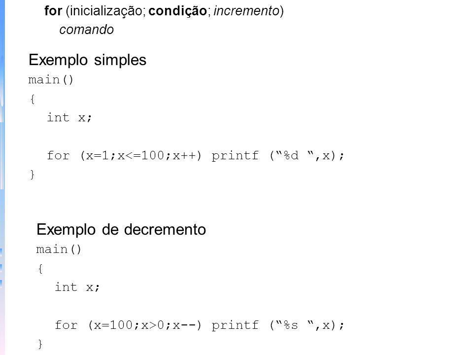 Exemplo simples Exemplo de decremento