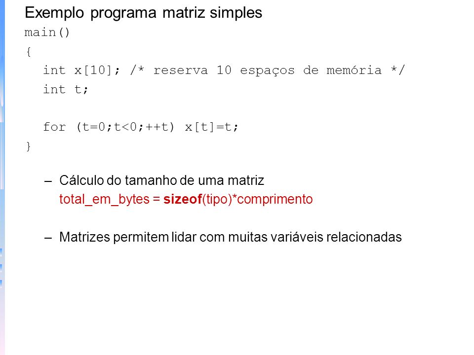 Exemplo programa matriz simples