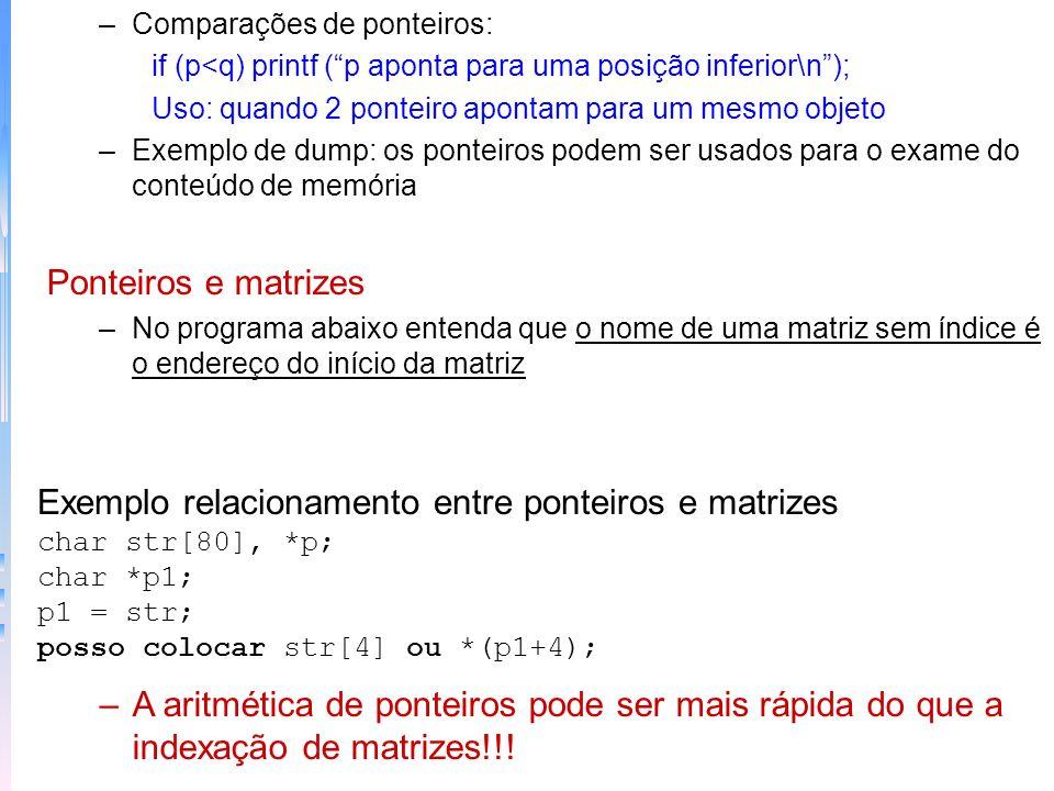 Exemplo relacionamento entre ponteiros e matrizes