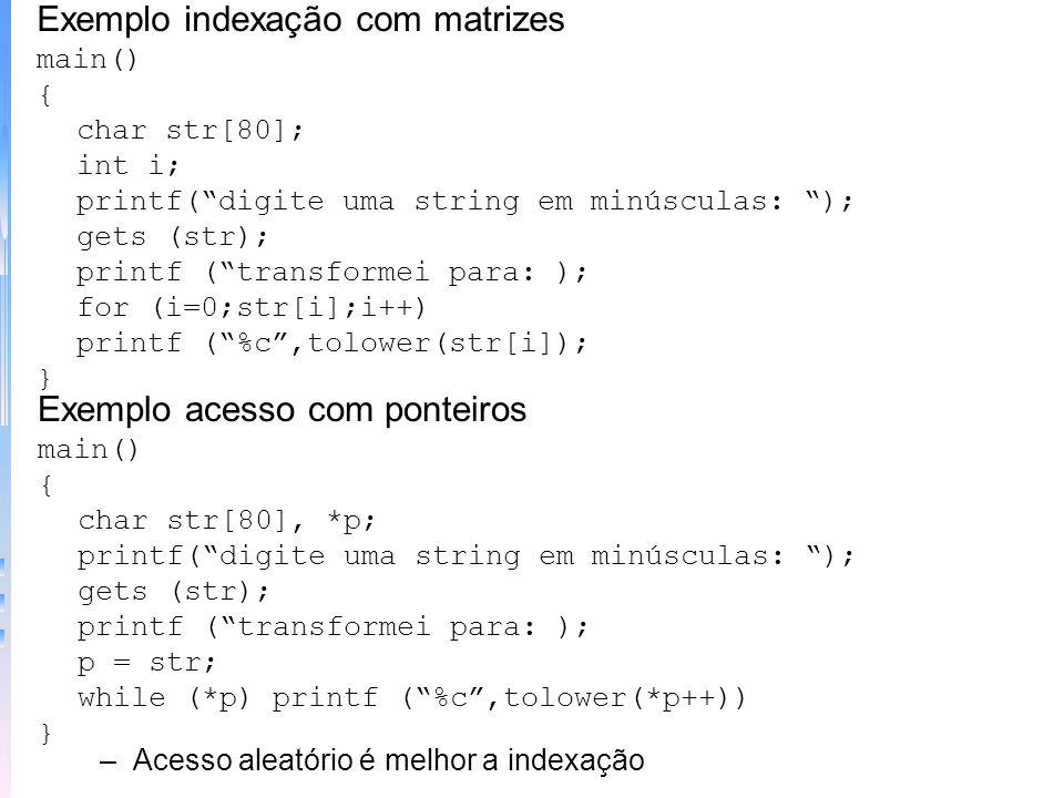 Exemplo indexação com matrizes