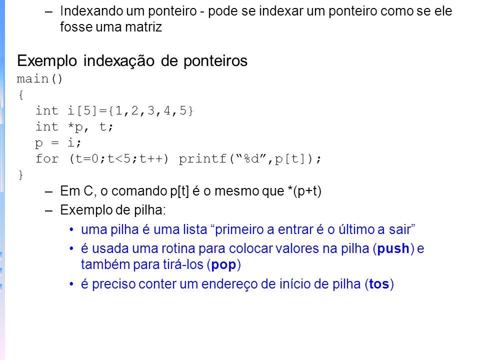 Exemplo indexação de ponteiros
