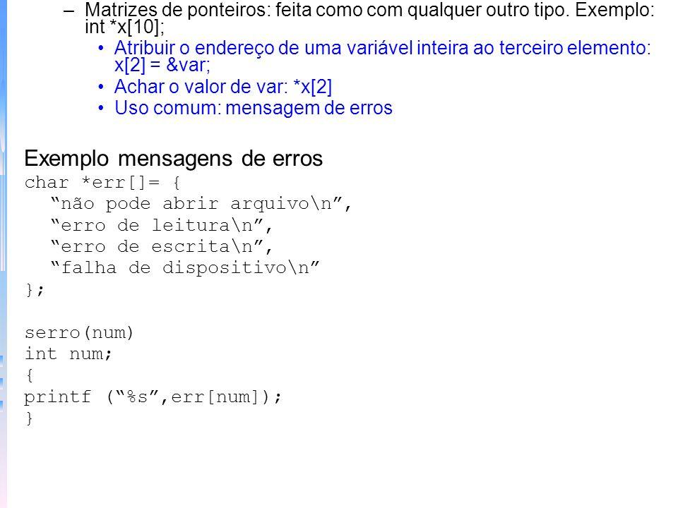 Exemplo mensagens de erros