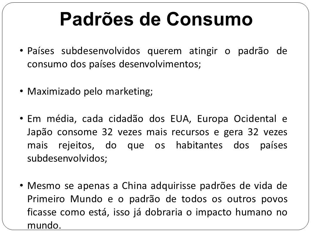 Padrões de Consumo Países subdesenvolvidos querem atingir o padrão de consumo dos países desenvolvimentos;