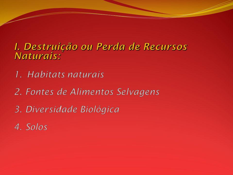 I. Destruição ou Perda de Recursos Naturais: