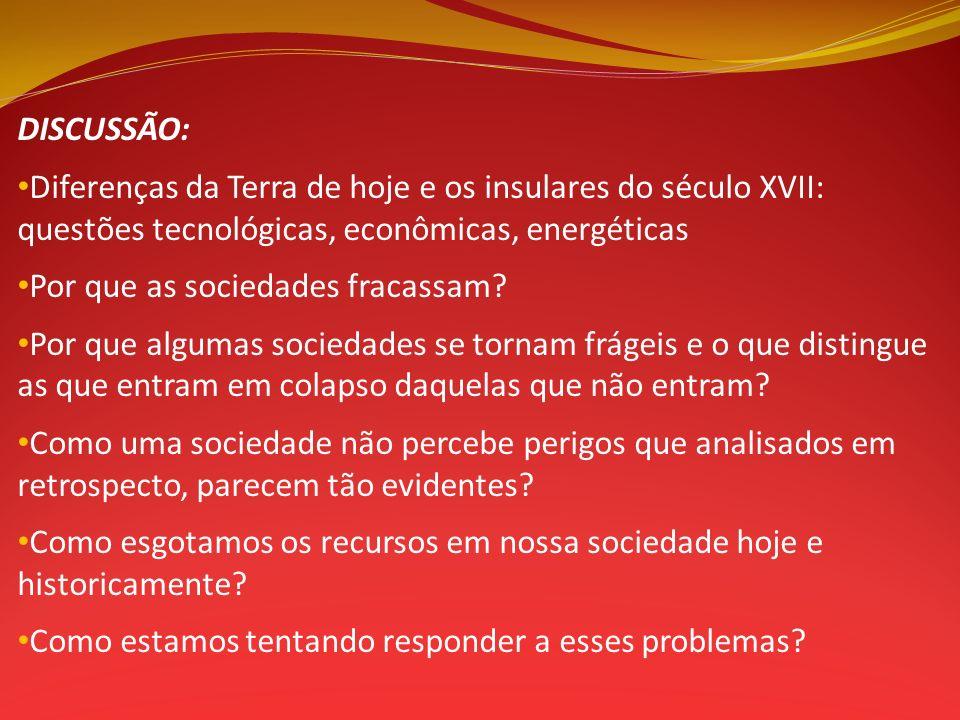DISCUSSÃO: Diferenças da Terra de hoje e os insulares do século XVII: questões tecnológicas, econômicas, energéticas.