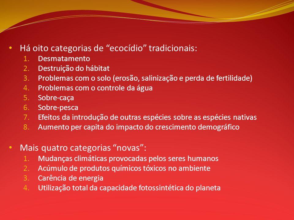 Há oito categorias de ecocídio tradicionais: