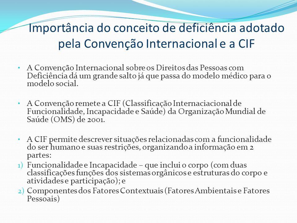 Importância do conceito de deficiência adotado pela Convenção Internacional e a CIF