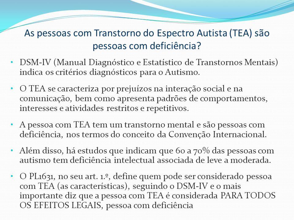 As pessoas com Transtorno do Espectro Autista (TEA) são pessoas com deficiência