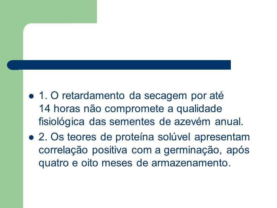 1. O retardamento da secagem por até 14 horas não compromete a qualidade fisiológica das sementes de azevém anual.