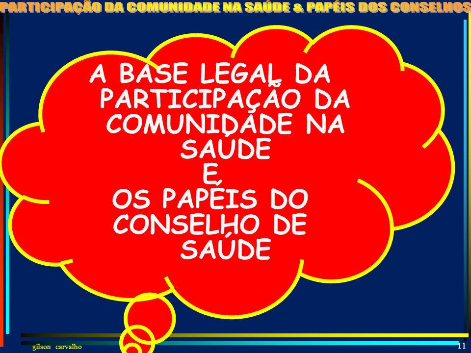 A BASE LEGAL DA PARTICIPAÇÃO DA COMUNIDADE NA SAÚDE