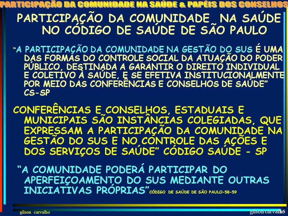 PARTICIPAÇÃO DA COMUNIDADE NA SAÚDE NO CÓDIGO DE SAÚDE DE SÃO PAULO