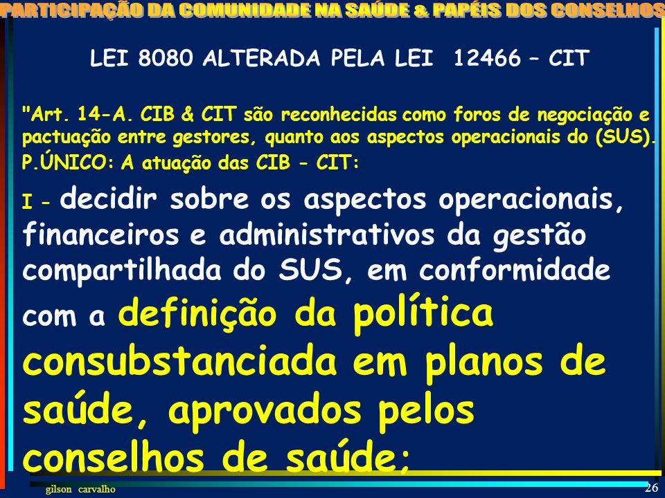 LEI 8080 ALTERADA PELA LEI 12466 – CIT