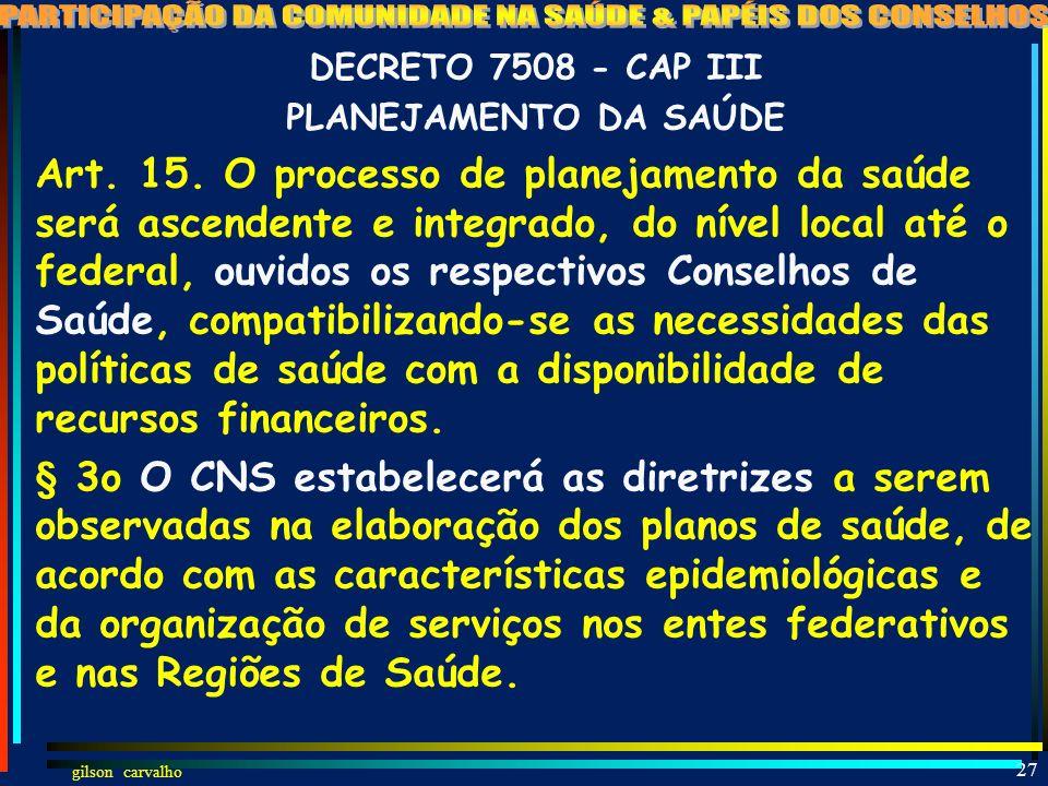 DECRETO 7508 - CAP III PLANEJAMENTO DA SAÚDE.
