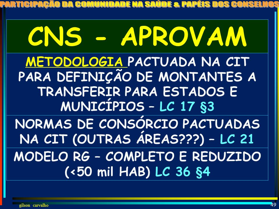 CNS - APROVAM METODOLOGIA PACTUADA NA CIT PARA DEFINIÇÃO DE MONTANTES A TRANSFERIR PARA ESTADOS E MUNICÍPIOS – LC 17 §3.