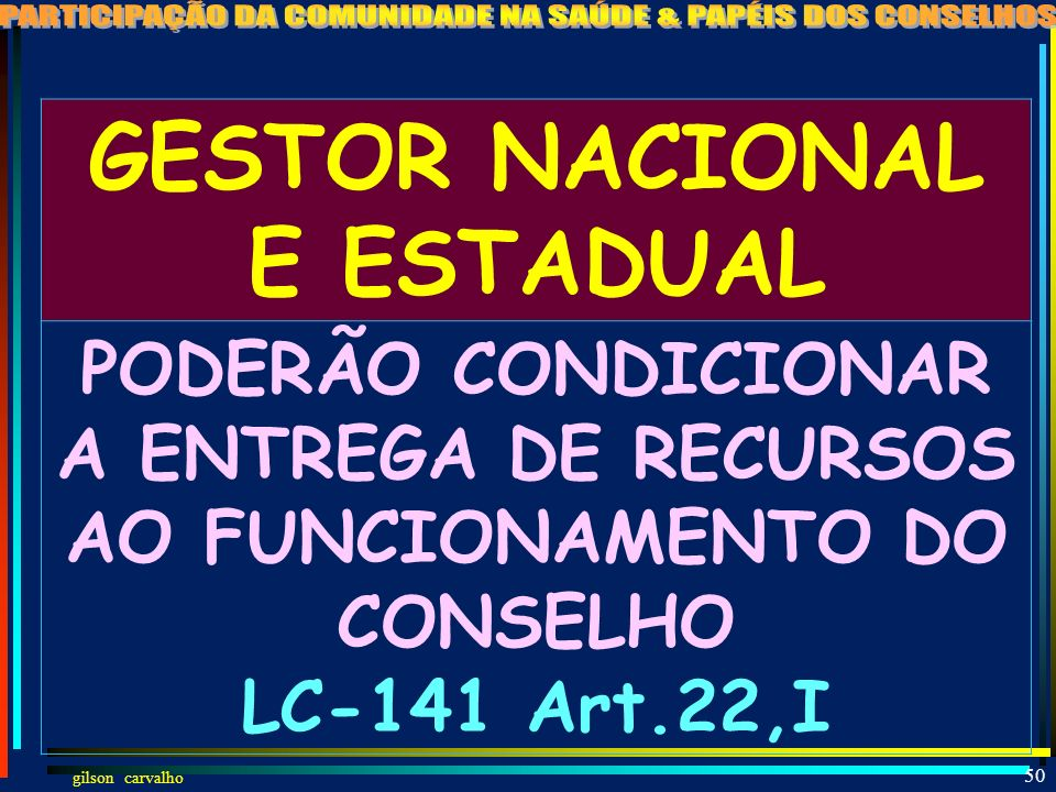 GESTOR NACIONAL E ESTADUAL