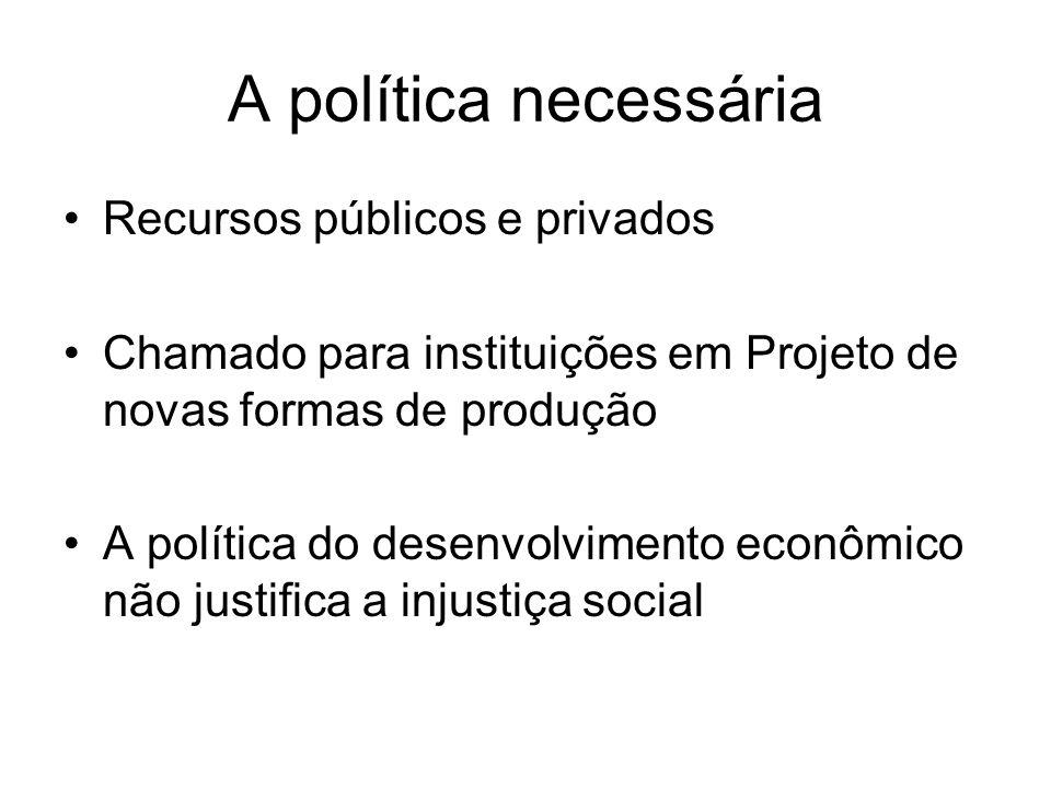 A política necessária Recursos públicos e privados