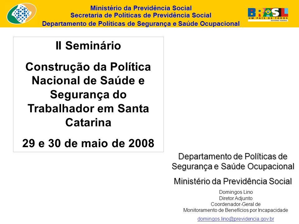II SeminárioConstrução da Política Nacional de Saúde e Segurança do Trabalhador em Santa Catarina. 29 e 30 de maio de 2008.