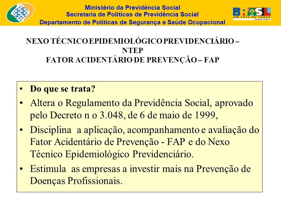 NEXO TÉCNICO EPIDEMIOLÓGICO PREVIDENCIÁRIO – NTEP FATOR ACIDENTÁRIO DE PREVENÇÃO – FAP