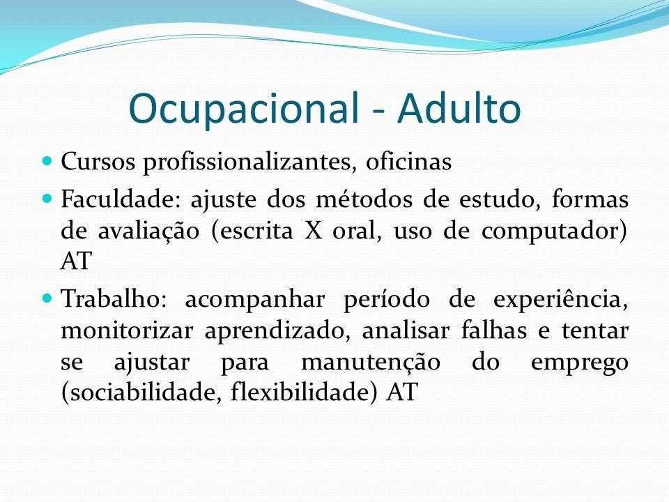 Ocupacional - Adulto Cursos profissionalizantes, oficinas