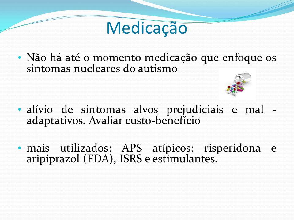 MedicaçãoNão há até o momento medicação que enfoque os sintomas nucleares do autismo.