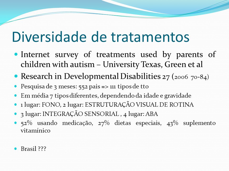 Diversidade de tratamentos
