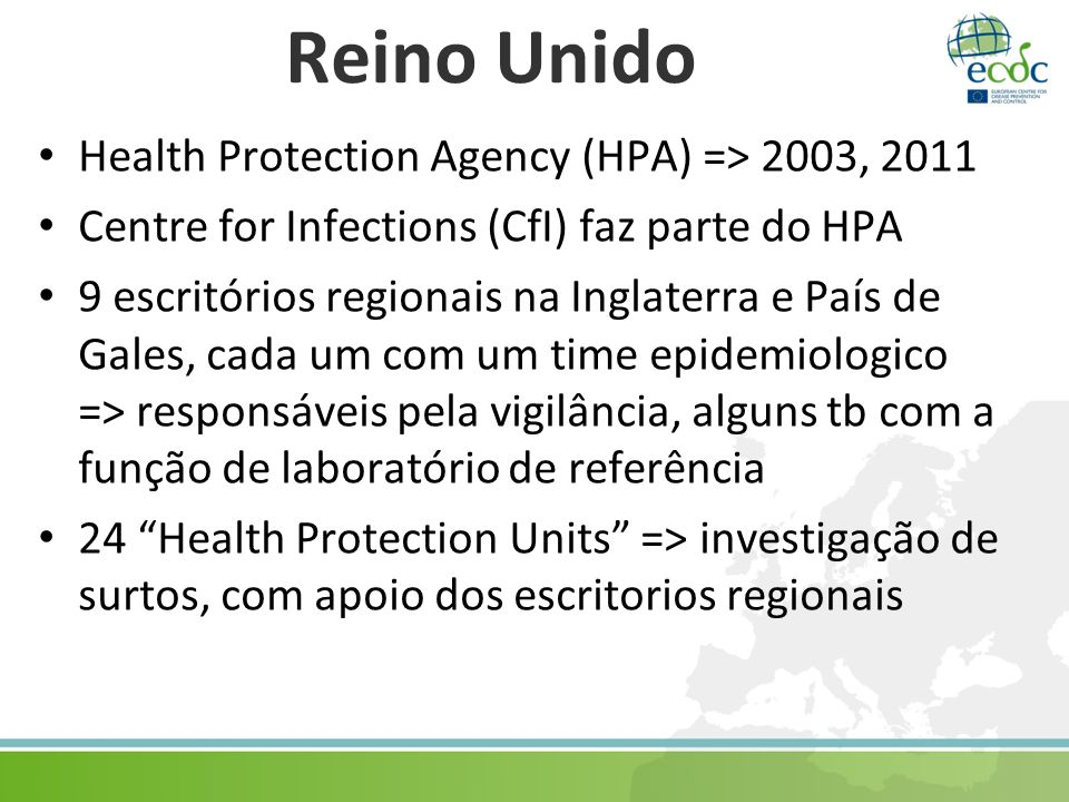 Reino Unido Health Protection Agency (HPA) => 2003, 2011