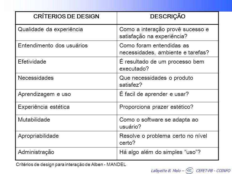 CRÍTERIOS DE DESIGN DESCRIÇÃO