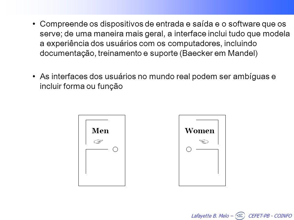 Compreende os dispositivos de entrada e saída e o software que os serve; de uma maneira mais geral, a interface inclui tudo que modela a experiência dos usuários com os computadores, incluindo documentação, treinamento e suporte (Baecker em Mandel)