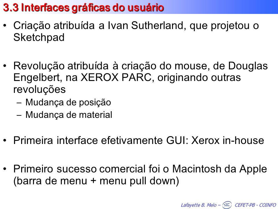 3.3 Interfaces gráficas do usuário