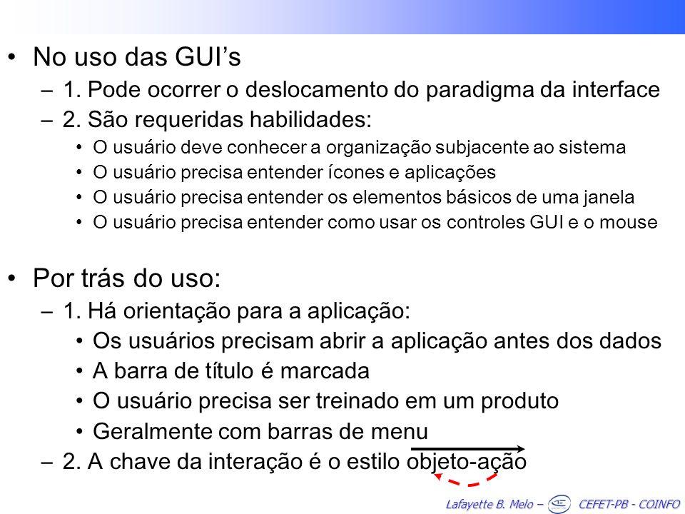 No uso das GUI's Por trás do uso:
