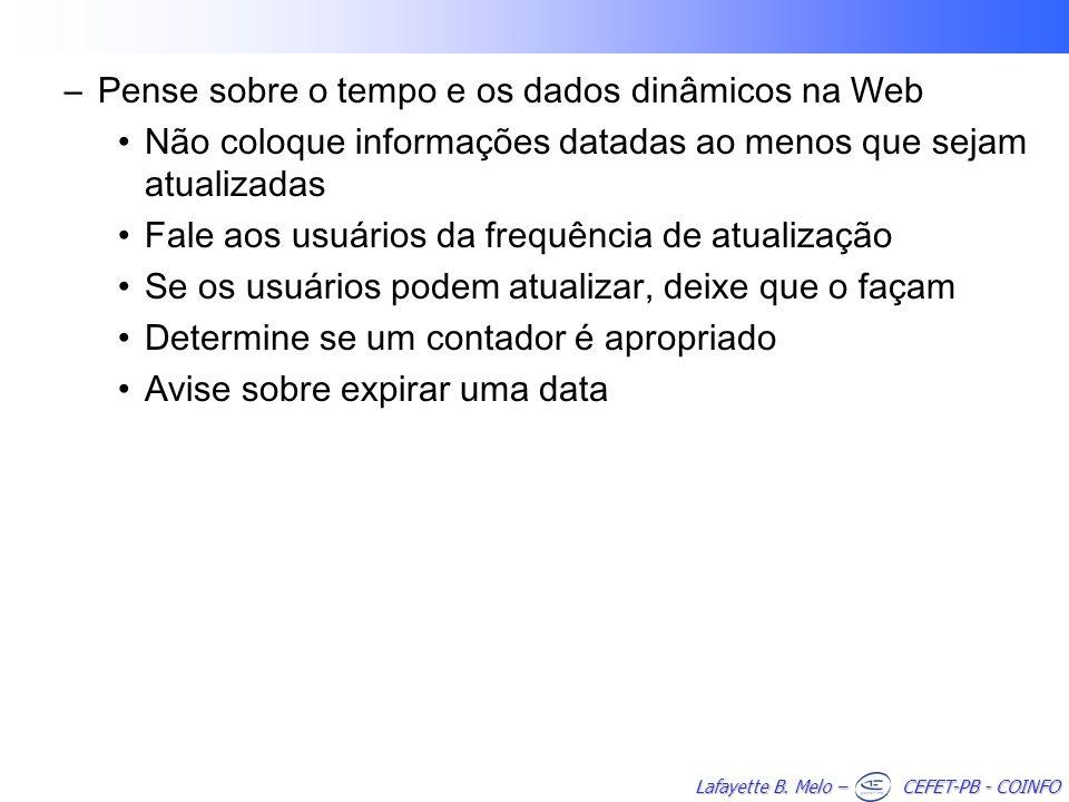 Pense sobre o tempo e os dados dinâmicos na Web