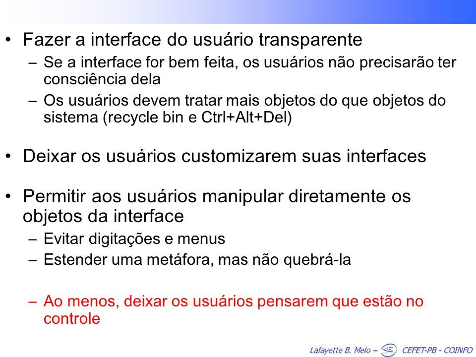 Fazer a interface do usuário transparente