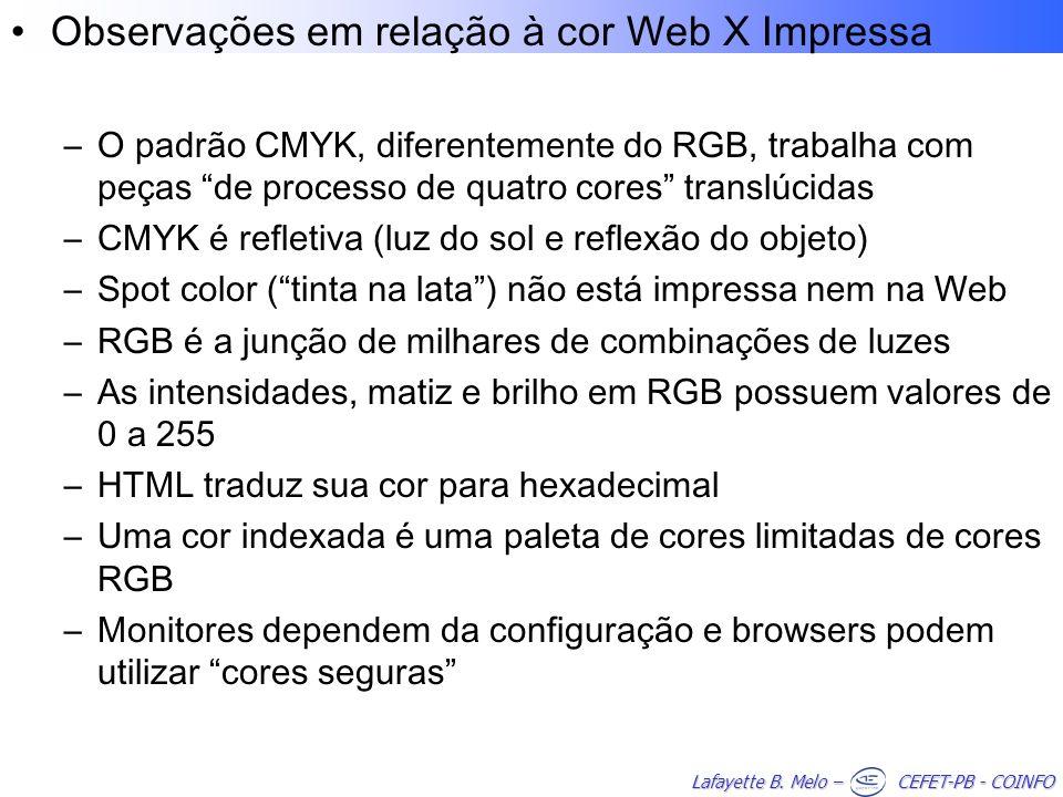 Observações em relação à cor Web X Impressa