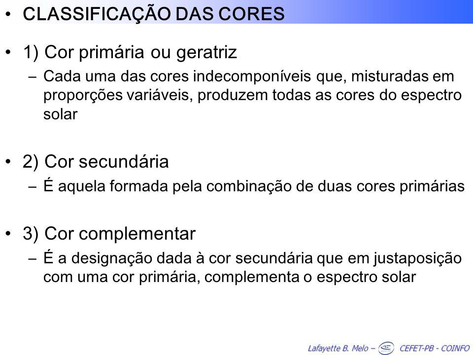 CLASSIFICAÇÃO DAS CORES 1) Cor primária ou geratriz