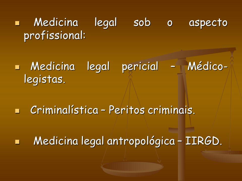 Medicina legal sob o aspecto profissional: