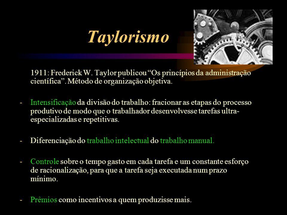 Taylorismo 1911: Frederick W. Taylor publicou Os princípios da administração científica . Método de organização objetiva.