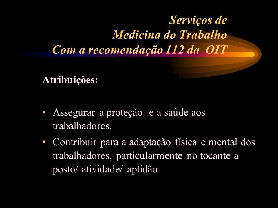Serviços de Medicina do Trabalho Com a recomendação 112 da OIT