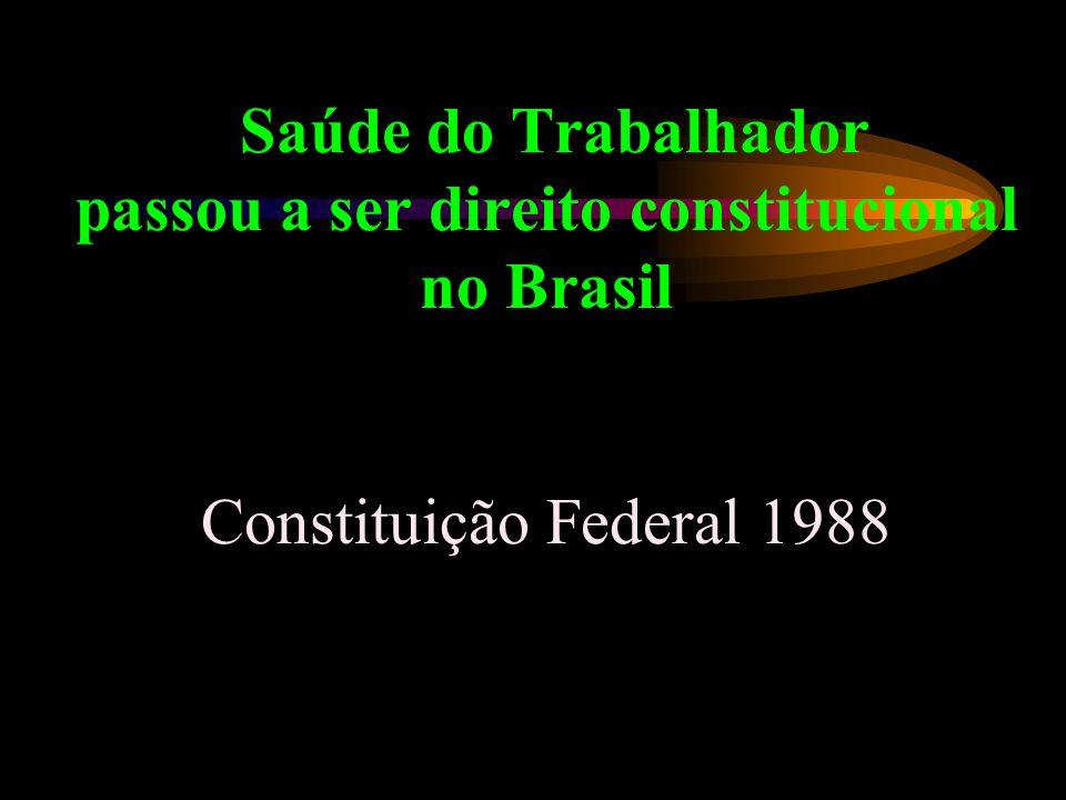 Saúde do Trabalhador passou a ser direito constitucional no Brasil Constituição Federal 1988