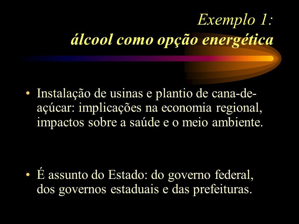 Exemplo 1: álcool como opção energética