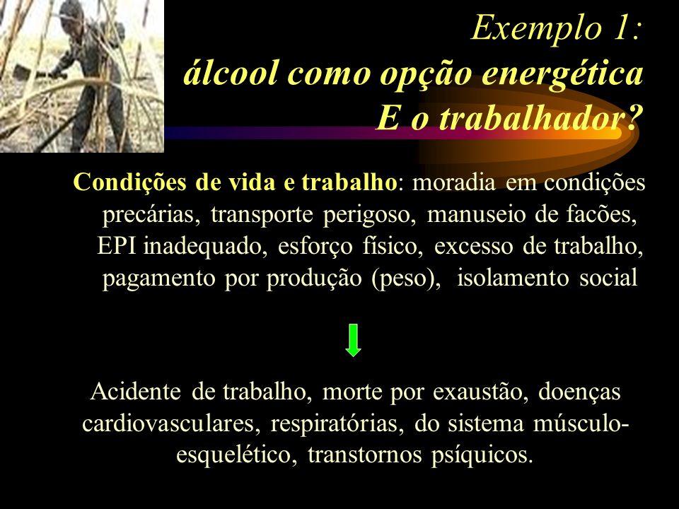 Exemplo 1: álcool como opção energética E o trabalhador