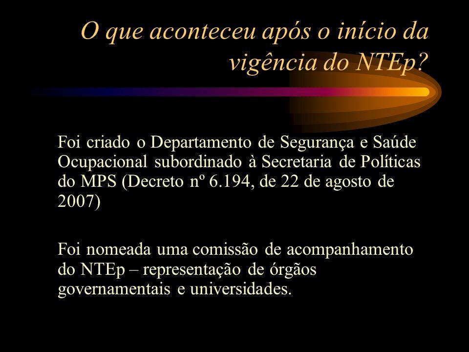 O que aconteceu após o início da vigência do NTEp