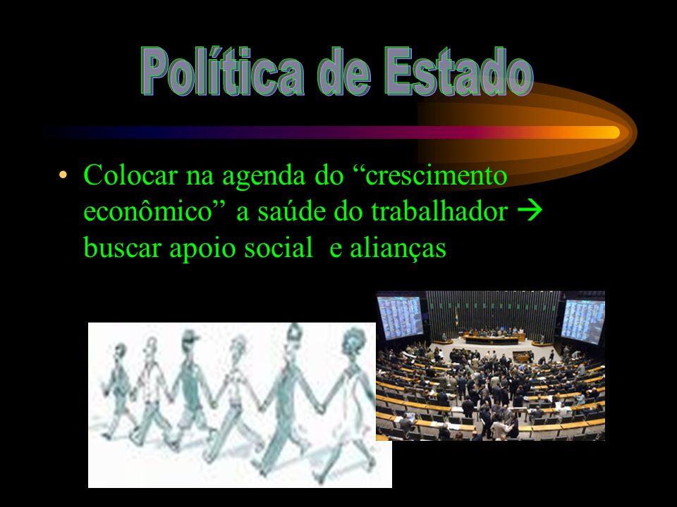 Política de Estado Colocar na agenda do crescimento econômico a saúde do trabalhador  buscar apoio social e alianças.
