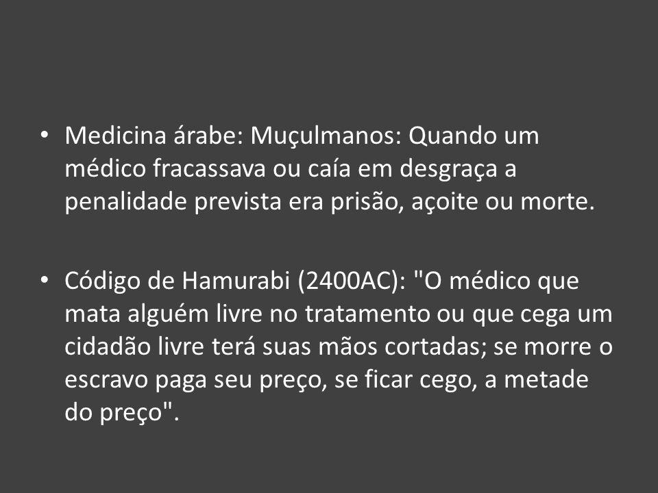 Medicina árabe: Muçulmanos: Quando um médico fracassava ou caía em desgraça a penalidade prevista era prisão, açoite ou morte.