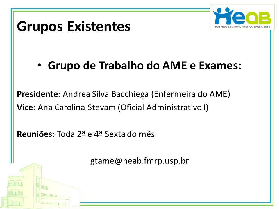 Grupo de Trabalho do AME e Exames: