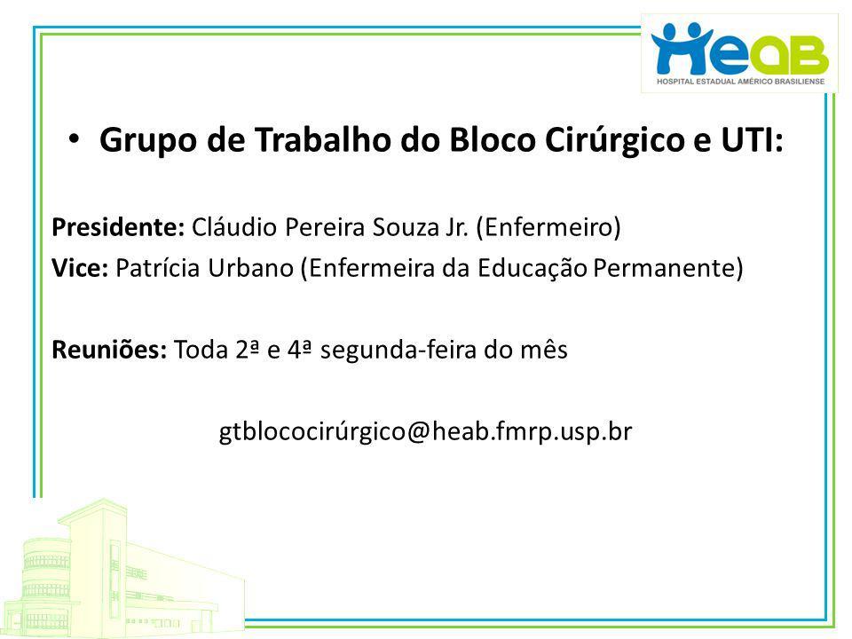 Grupo de Trabalho do Bloco Cirúrgico e UTI: