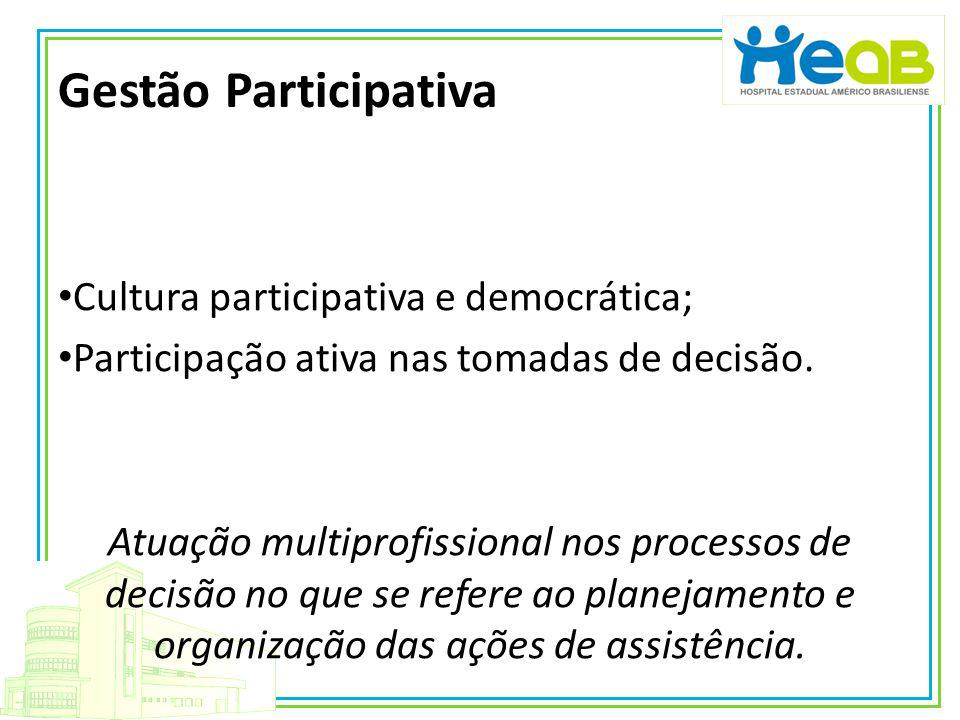 Gestão Participativa Cultura participativa e democrática;