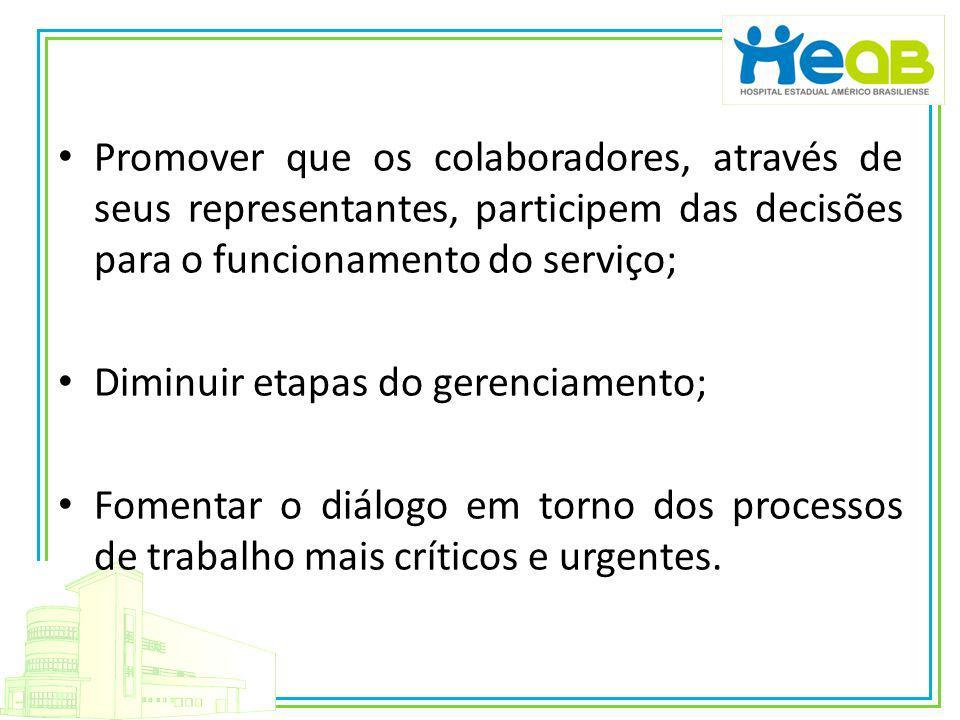 Promover que os colaboradores, através de seus representantes, participem das decisões para o funcionamento do serviço;