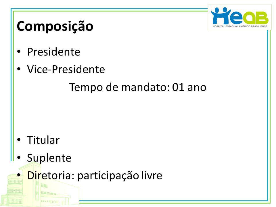 Composição Presidente Vice-Presidente Tempo de mandato: 01 ano Titular